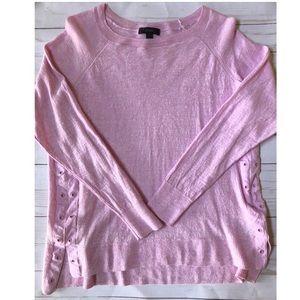 J Crew Pink Merino Wool & Linen Sweater New Large